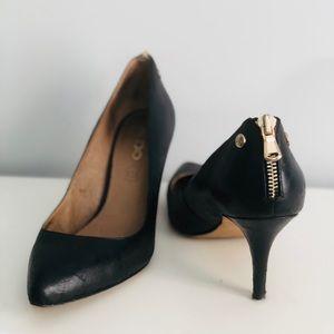 Aldo Black Zipper Heels